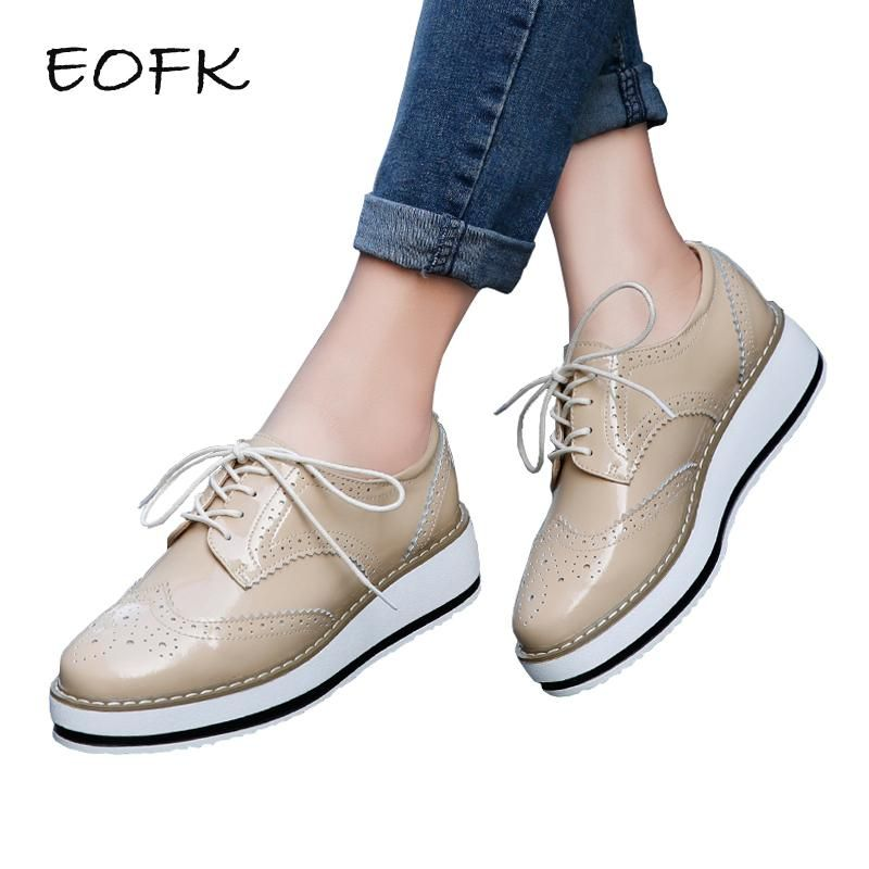 Spring Women Platform Shoes Brogue Patent Leather Flats Lace Up Footwear  Flat Oxford - Shoes 6182e318086f
