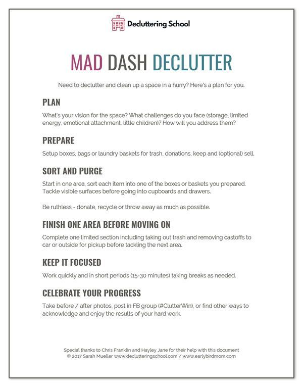 How to declutter a room in a hurry (free printable checklist