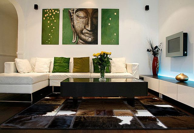 Cowhide Patchwork Rugs in contemporary home decor modern living room ...