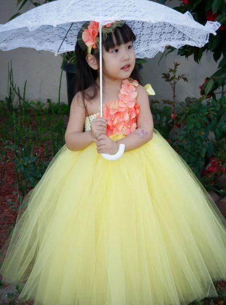 1354c11e17ac Yellow Tutu Dress Birthday Theme Yellow Color Flower Girls Dress ...