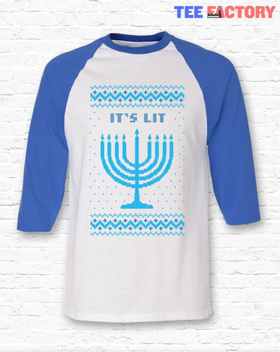Its Lit With A Menorah In Ugly Christmas Sweater Knit Style