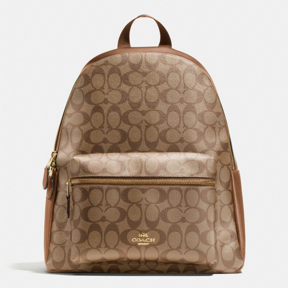 1d182c9aeb91 Coach Signature Print Charlie Large Backpack Book School Bag Saddle Khaki  Brown  Coach  BackpackStyle