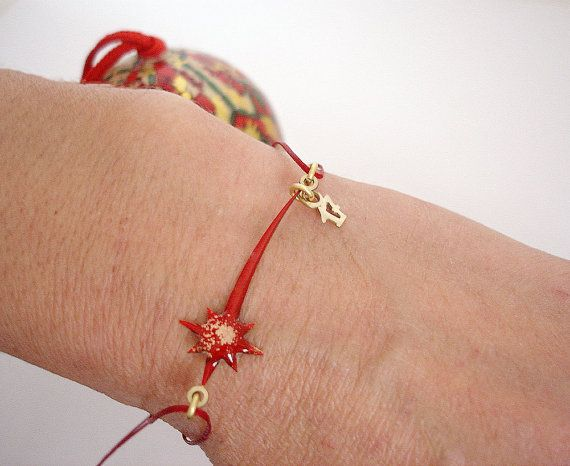 Shooting Star Bracelet Red Star Bracelet Christmas Jewelry Christmas Gift New Year Gift Friendship Bracelet by Dialecti Paslidou