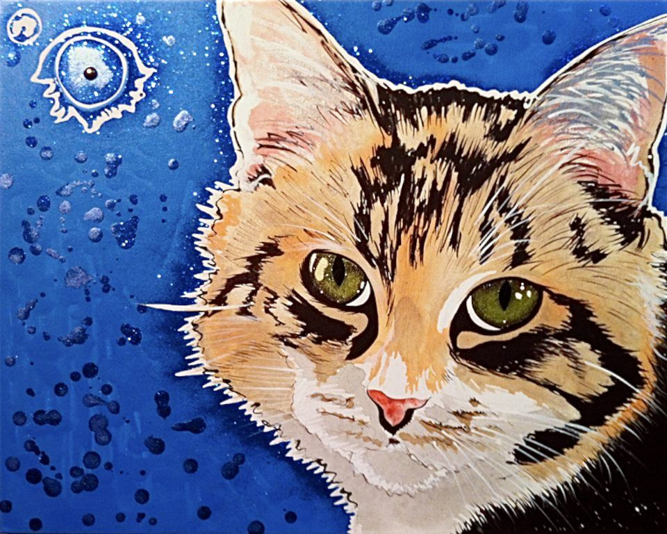 hand painted commissioned pet portraits by Hannah Stone.   Prices start at $300. contact her on facebook for more info(click on photo for link) or website www.gohannahstone.com