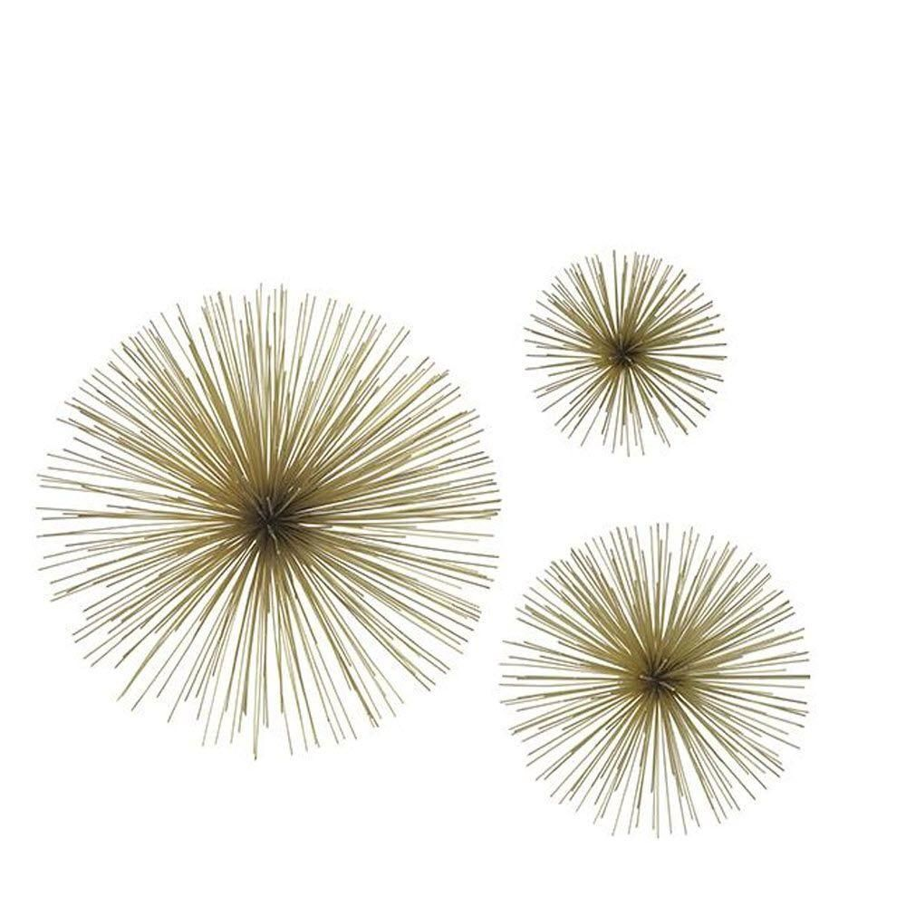 Metal Wall Stars Art Decor Three Hands Assorted Metal Gold Star Bursts Wall Art Set Of 3