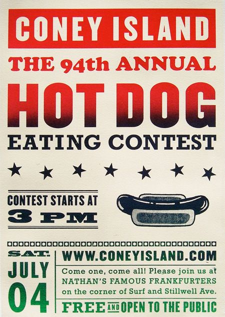 Poster of the Week: Coney Island Hot Dog Eating Co