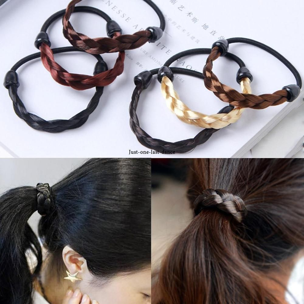 Women elastic hair tie braid wig ponytail holder hair bands