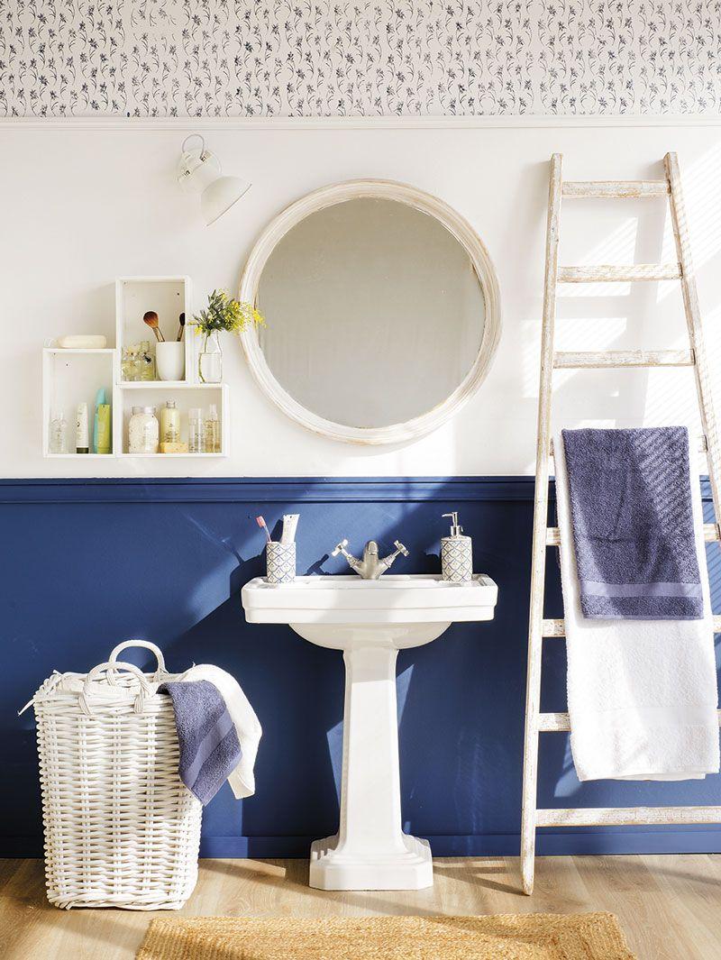 Estrena baño sin hacer obras   Decoración de baño azul ...