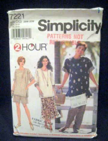 Womens Pullover Top Pants Shorts Skirt Sewing Pattern Uncut ...