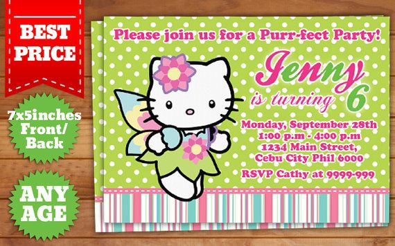 This Instant Downloadable is for a Hello Kitty Birthday Invitation - downloadable birthday invitation templates
