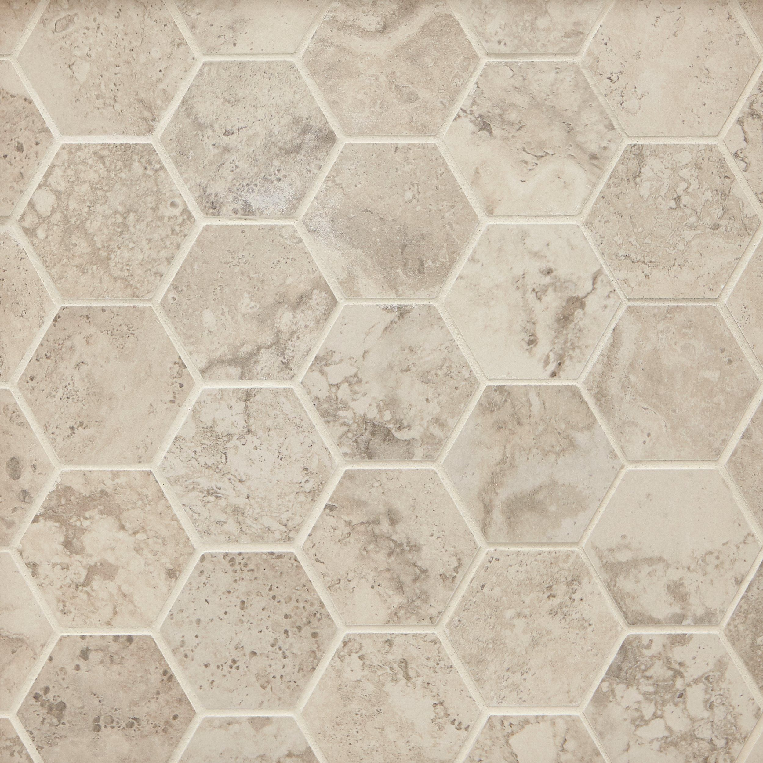 Tarsus Almond Ii Hexagon Porcelain Mosaic In 2020 Porcelain Mosaic Stone Look Tile Porcelain Mosaic Tile