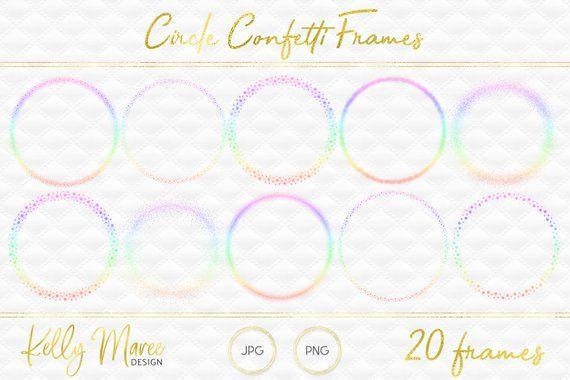 Confetti pastel. Rainbow frames instagram