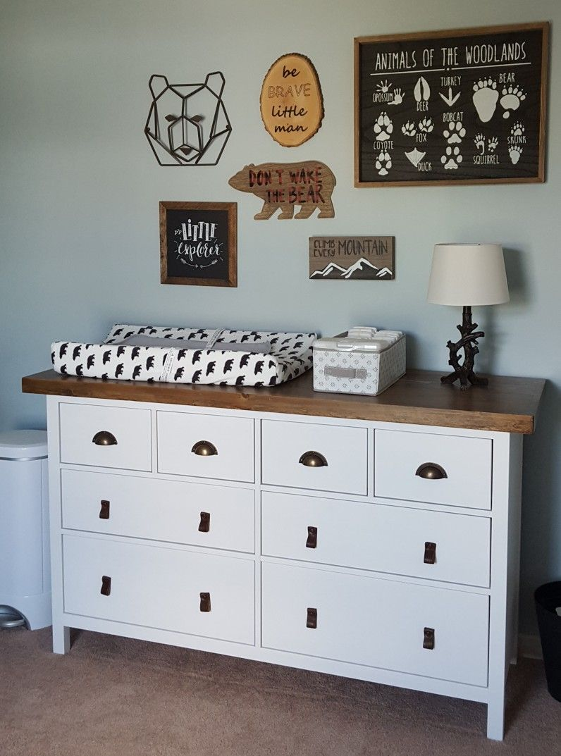 Ikea Hack Hemnes Dresser White Stain Transformed With Bronze Pulls Leather Pulls And Wood Stained Top Changing Table Dresser Ikea Nursery Hemnes Dresser