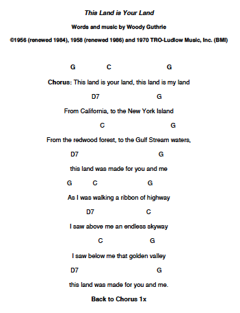 This Land Is Your Land Ps Learning Ukulele Keiki Sheet Music