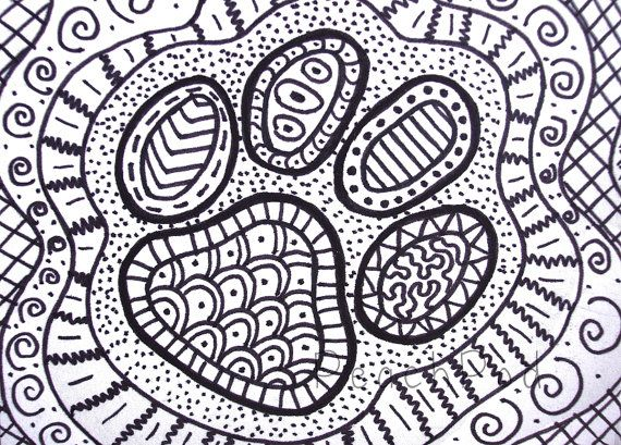 Ooak Pawprint Zentangle Aceo Dog Paw Drawing Cat Paw