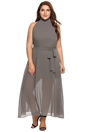 52fe1942be Zeagoo Womens Plus Size Chiffon Sleeveless Maxi Formal Dresses Solid Belted  Party Dress Grey 18 Plus