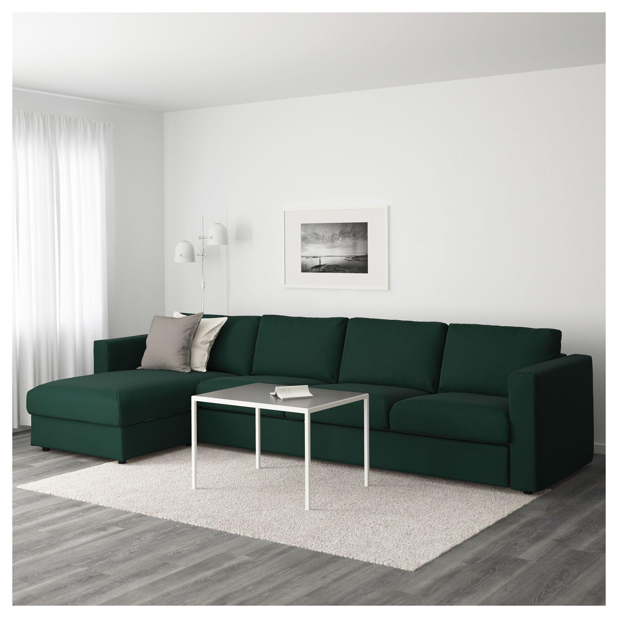 Strange Vimle Sectional 4 Seat With Chaise Gunnared Dark Green Uwap Interior Chair Design Uwaporg