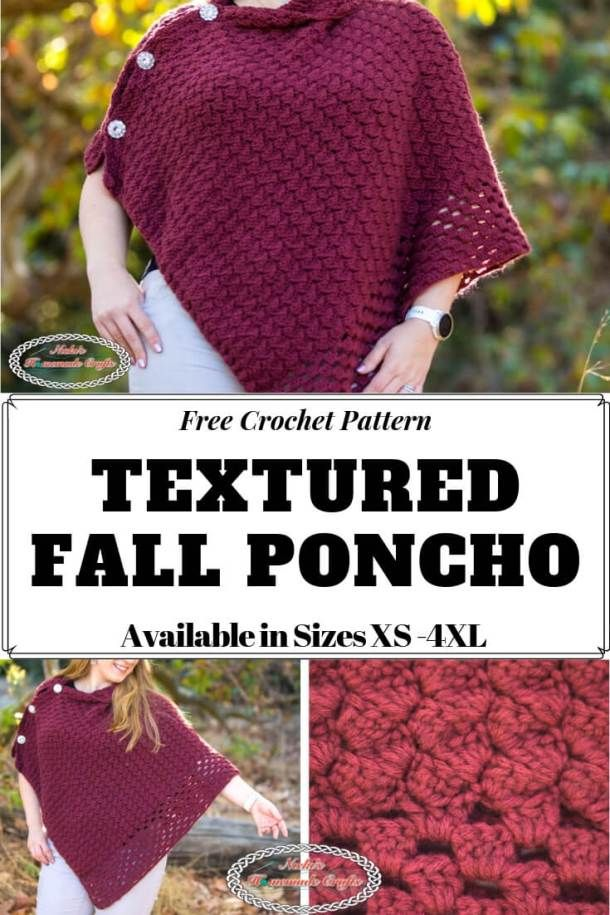 Learn how to crochet the Textured Fall Poncho with this free crochet pattern This free crochet pattern is available in sizes XS through 4XL and is easier than you might t...