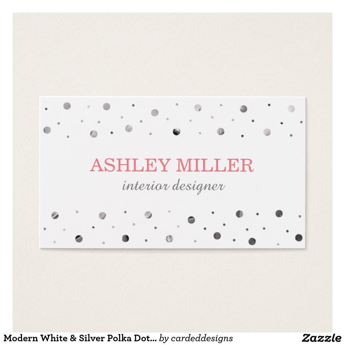 Modern White & Silver Polka Dot Business Card | impressive business ...