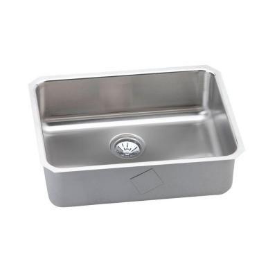 For Studio Kitchen: Elkay Gourmet Undermount Stainless Steel 25.5 in. 0-Hole Single Bowl Kitchen Sink in Satin
