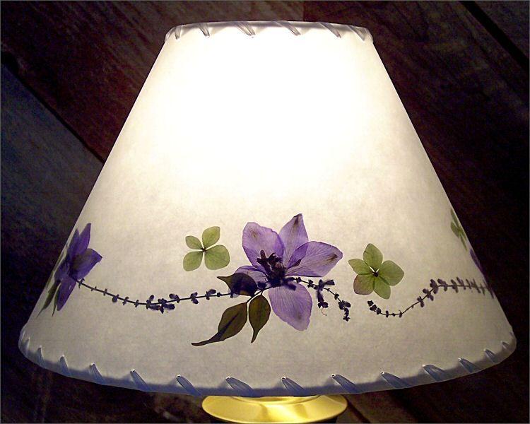 Botanical Lampshade - #3571 - delphinium, Russian Sage and hydrangea
