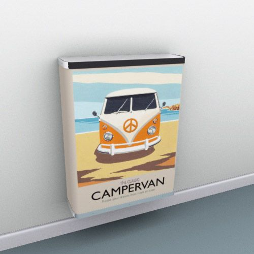 Soft sandy yellow and retro classic mustard with dreamy campervan illustration