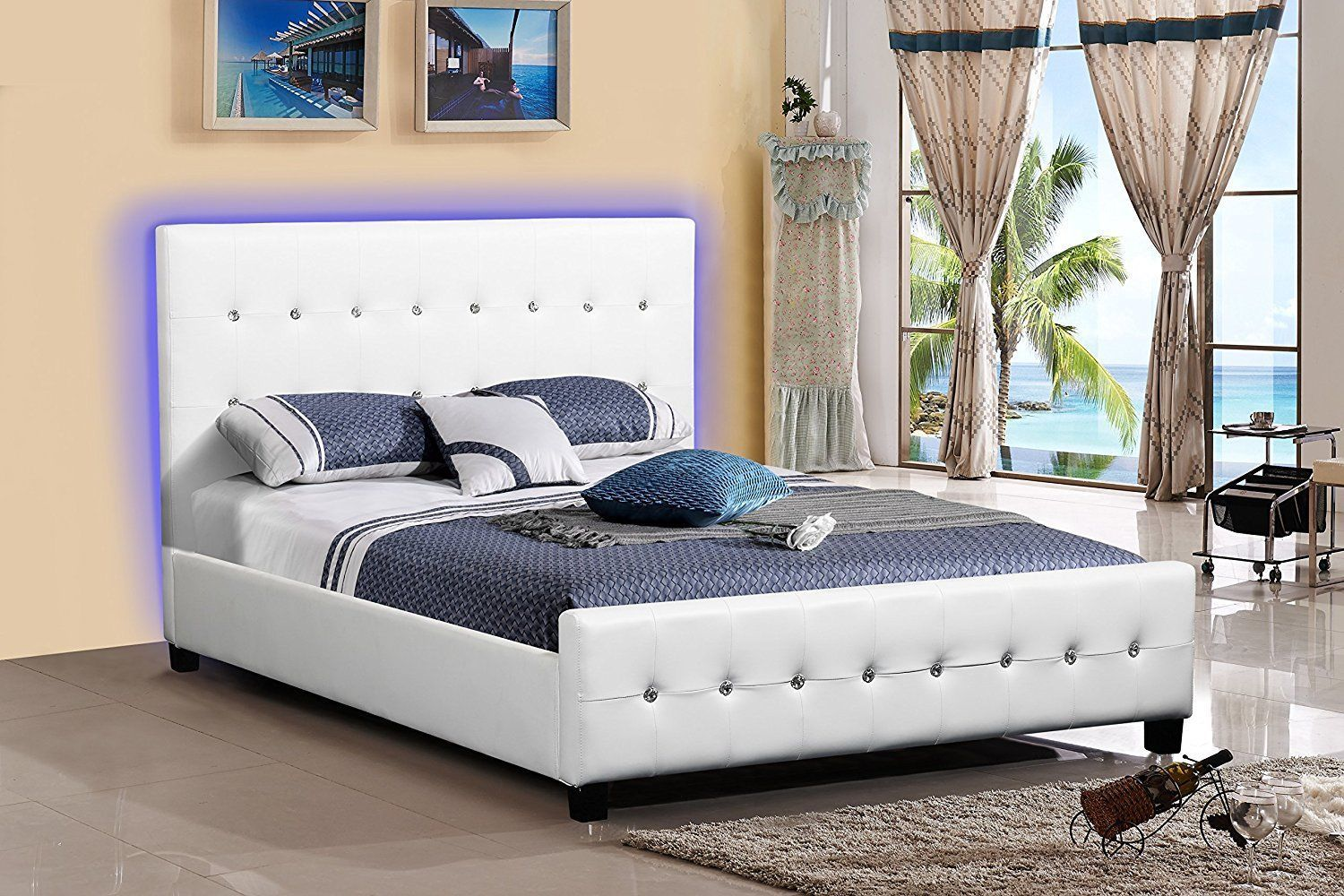 Details about White Leather Look Tufted LED Platform Bed