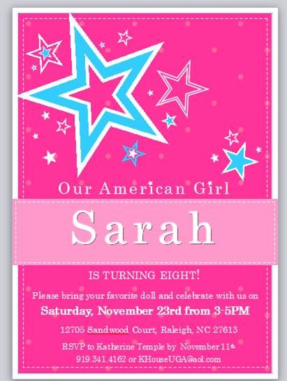 American Girl Party Invitation American Girl Birthday Party