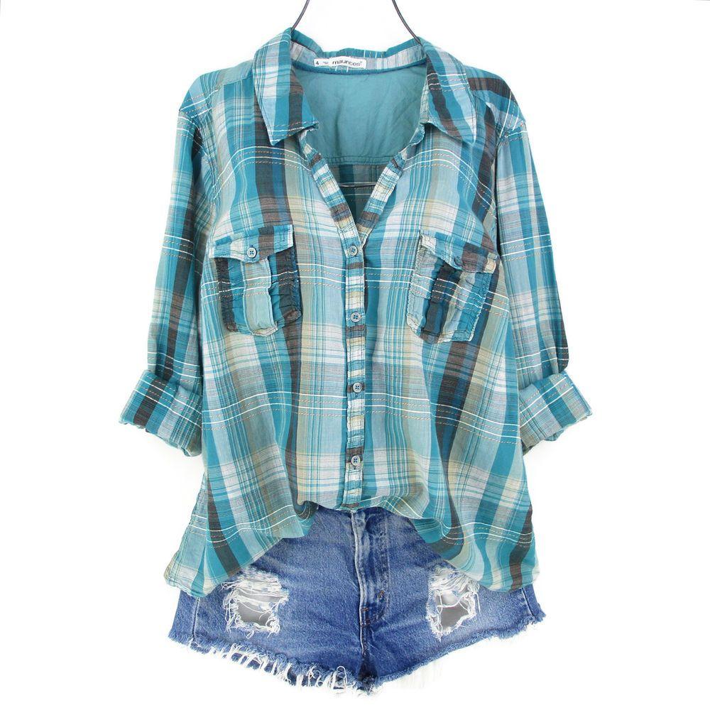 Flannel shirt women  Maurices  Top Womens Plus Size X Blue Plaid Shirt Lace Button Down