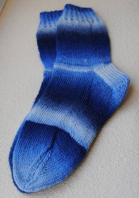 Hand knitted socks in shades of Blue. Super soft yarn with a nice ...