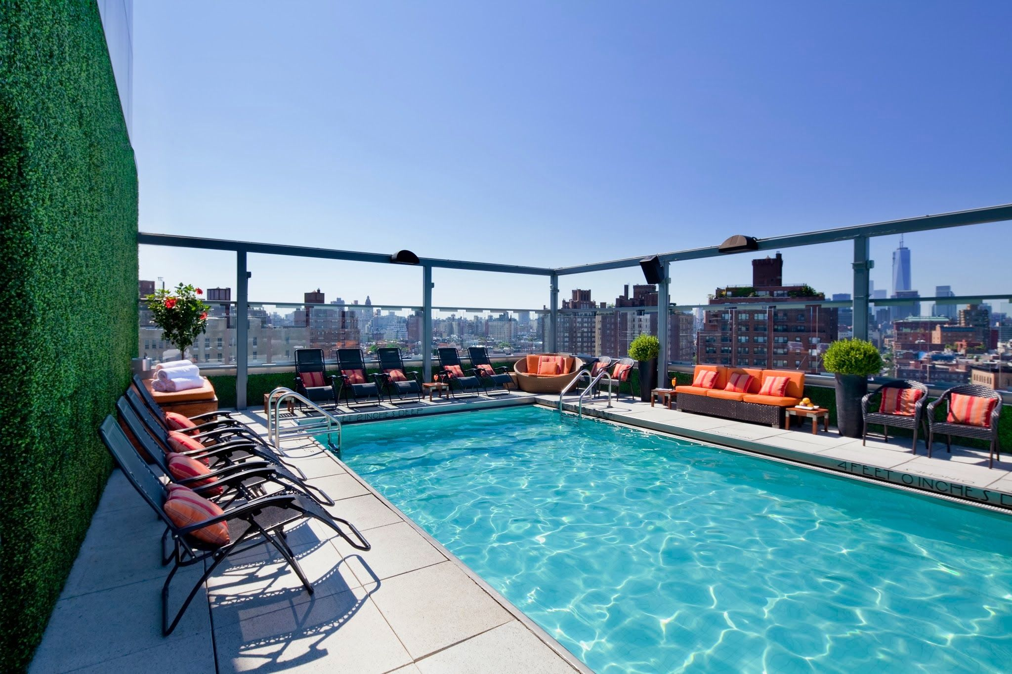 daytime shot of the luxurious rooftop pool