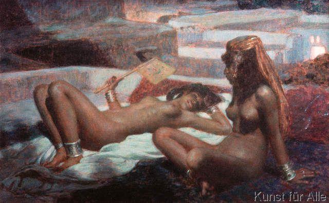 Alphonse Etienne Dinet - Auf den Terrassen-Laghouat bei Mondenschein