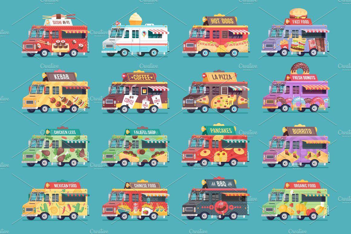 Cartoon Food Trucks Bundle Food truck, Business