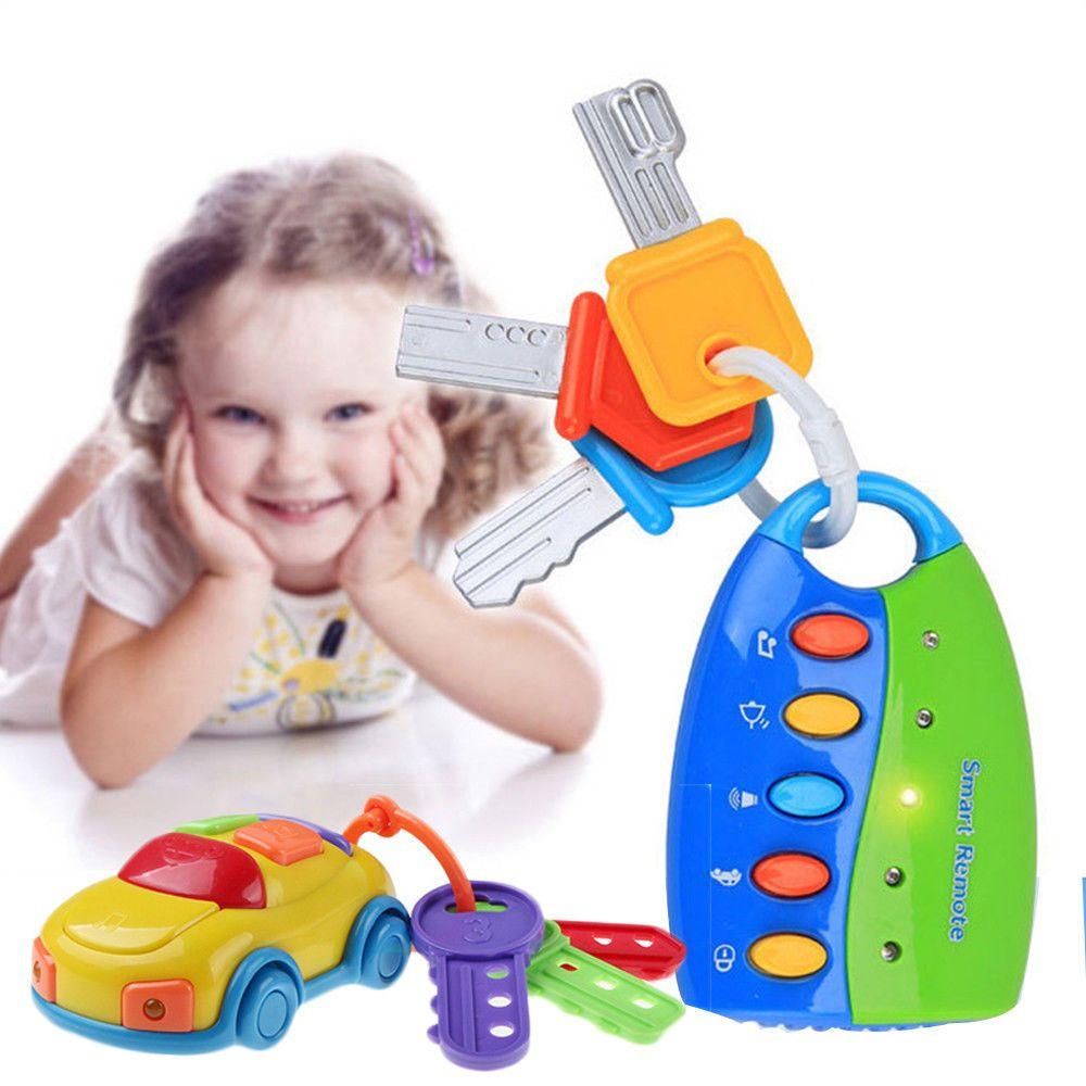 Toys car keys  Baby Puzzle Musical Car Key Flash Music Smart Remote Keychain