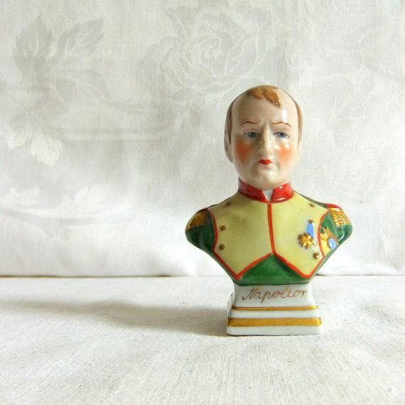 Vintage Hand Painted Porcelain Bust of Napoleon   by NAMIvintage