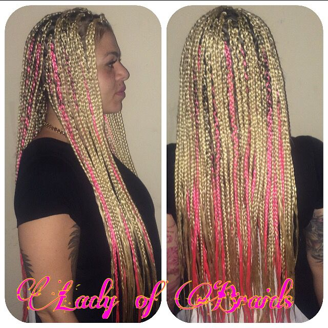 Gorgeous White Latina Mixed Girl Long Box Braids With Pink Weave