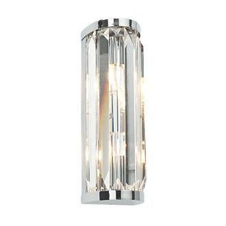 Saxby Crystal Bathroom Wall Light Chrome G9 36W Steel And Glass  Construction Bathroom Wall Light. Glamorous And Chic Design. Ideal For  Luxury Bathrooms. ...