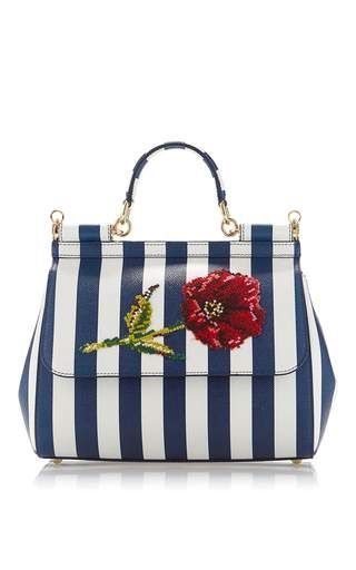 d767bfc2f9 Sicily Stripe Top Handle Bag With Needlepoint Flower by DOLCE   GABBANA for  Preorder on Moda Operandi