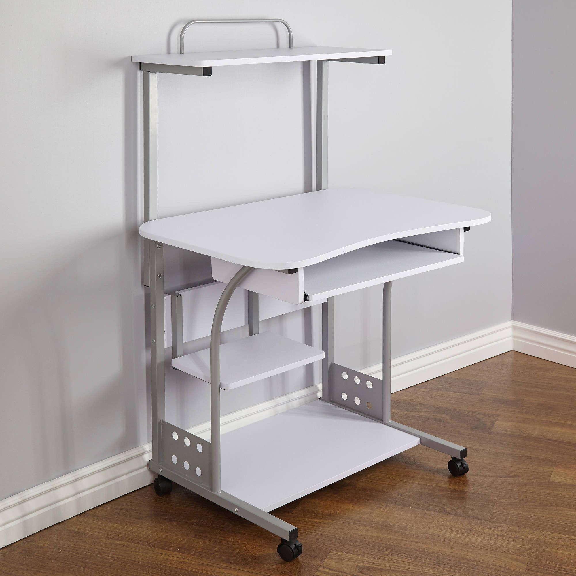 Small Compact Mobile Portable Computer Tower With Shelf Desk With