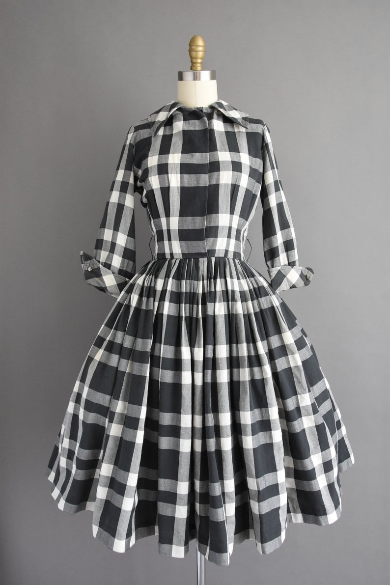 1950s Vintage Dress Gigi Young Black White Plaid Print Full Etsy Dresses Vintage Dresses Dress Making