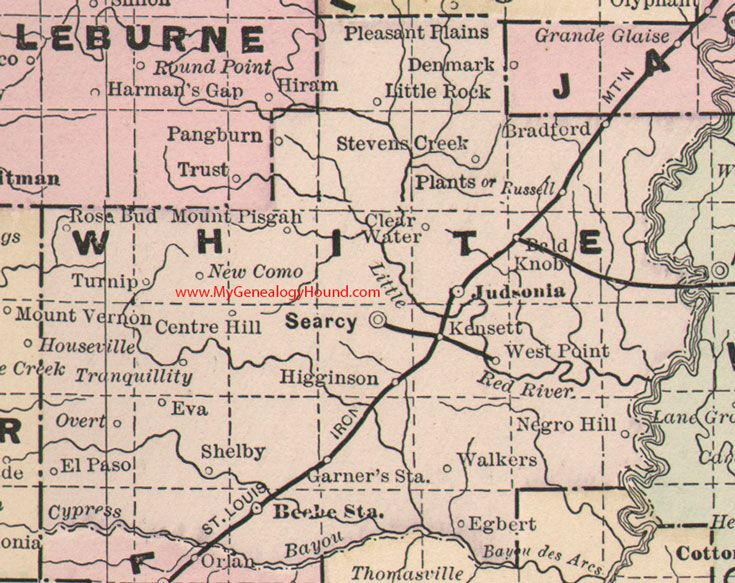White County, Arkansas Map 1889 Searcy, Judsonia, Beebe Station ...