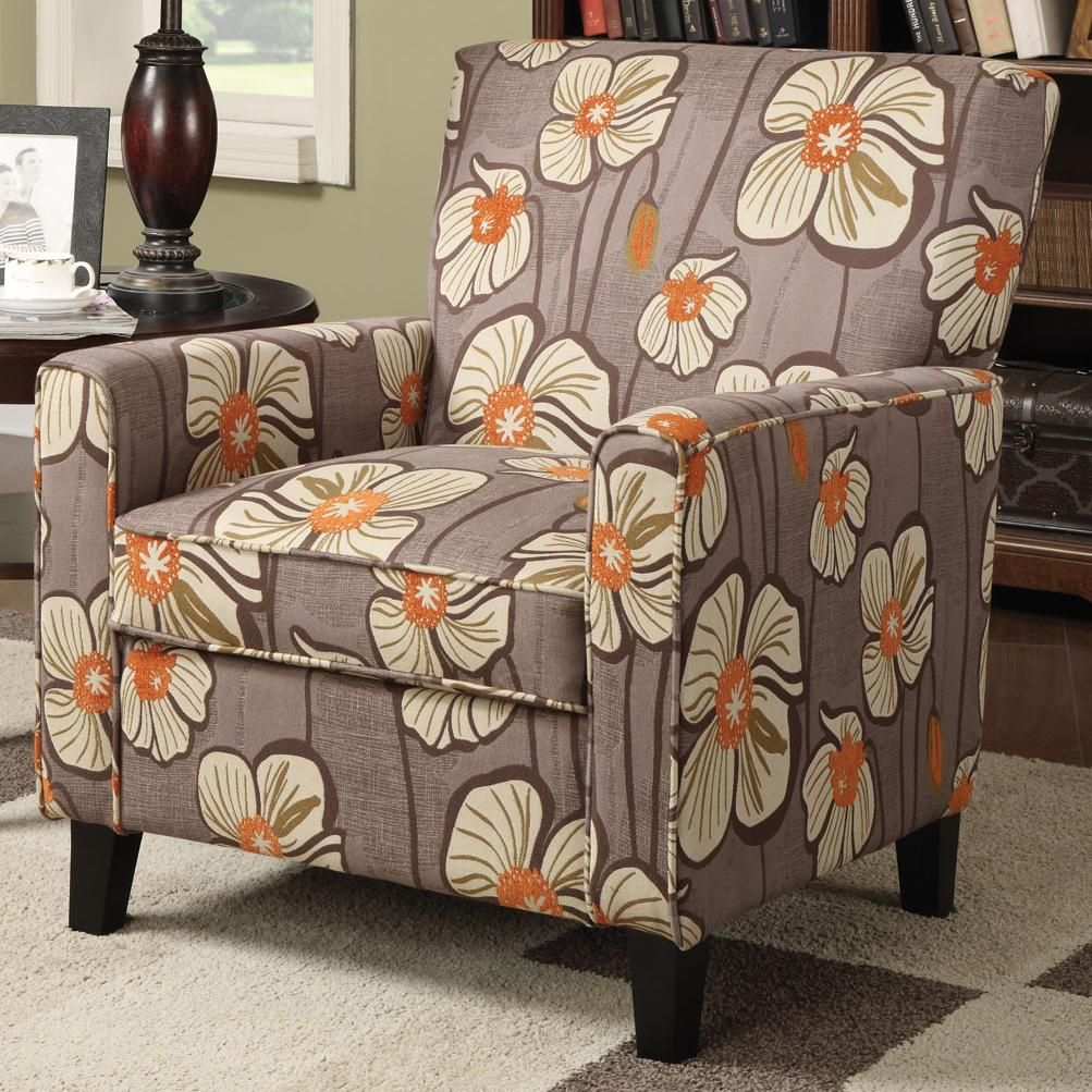 Wonderful Contemporary Floral Pattern Fabric Accent Chair By Coaster 902031