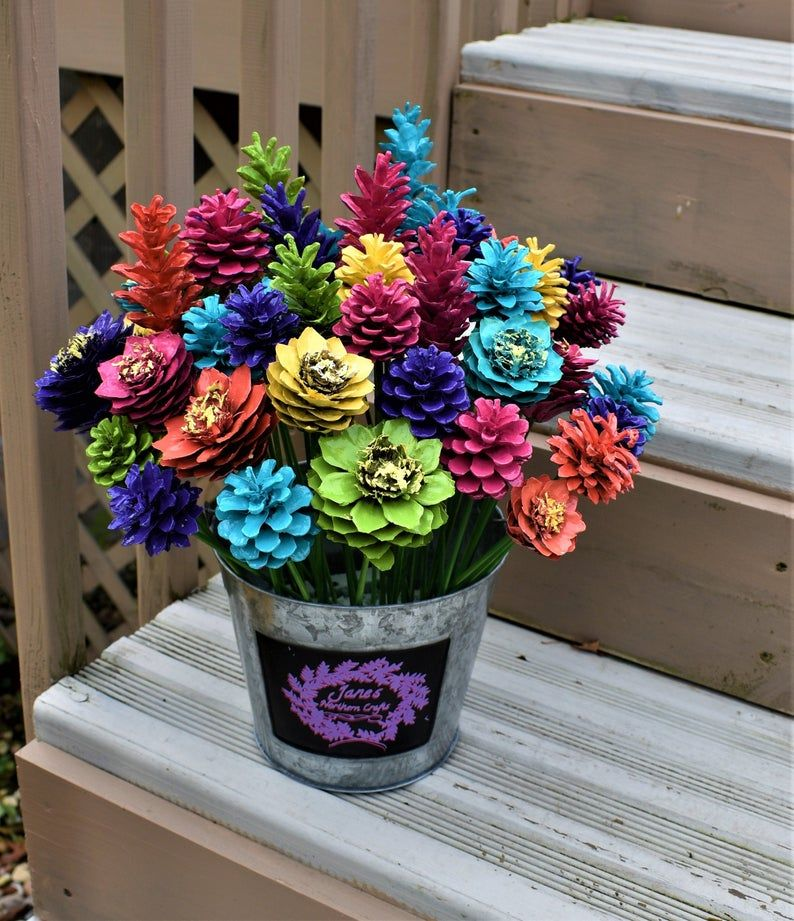 Summer Splash Pinecone Flowers/ One Dozen Pine Cone Flowers #pineconeflowers