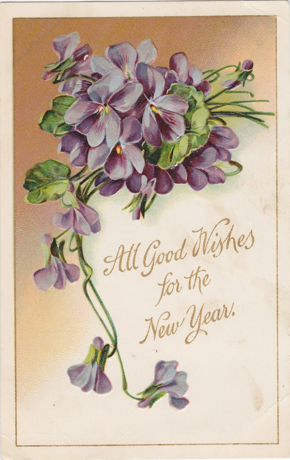 Good Wishes for New Year Embossed Floral 1909 Lynn Mass Cancel ...