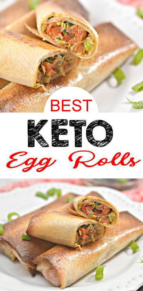 BEST Keto Egg Rolls – EASY Low Carb Keto Egg Roll With Wrapper Recipe – Tasty Keto Appetizers – Dinner – Lunch - Side Dishes - Party Finger Foods