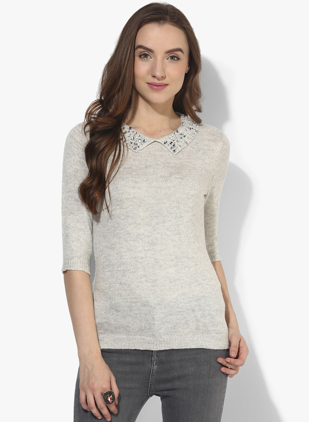Buy Dorothy Perkins Grey Embellished Sweater for Women Online ...