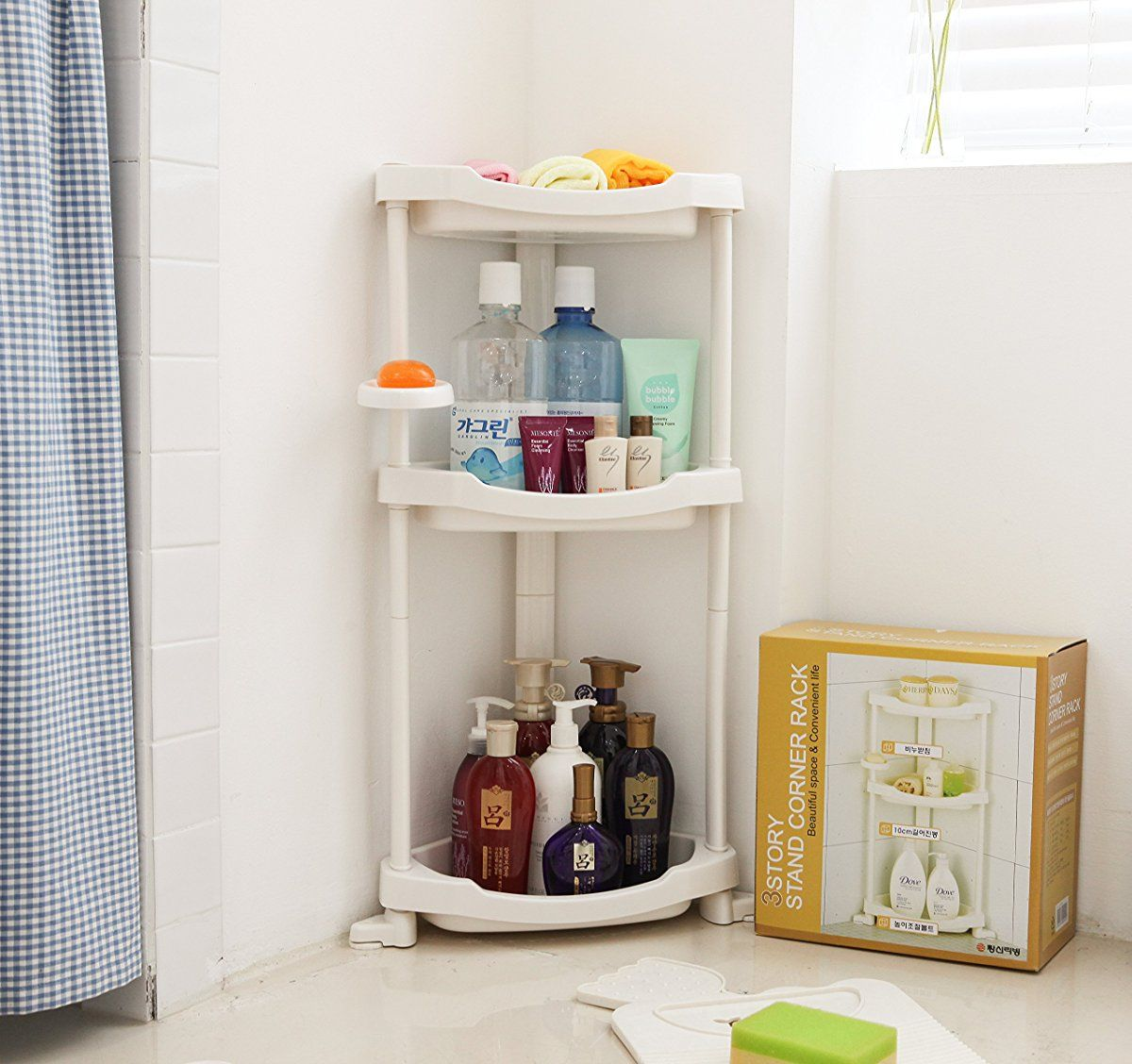 Tenby Living Corner Shower Caddy - 3 Shelf Shower Organizer Caddie ...