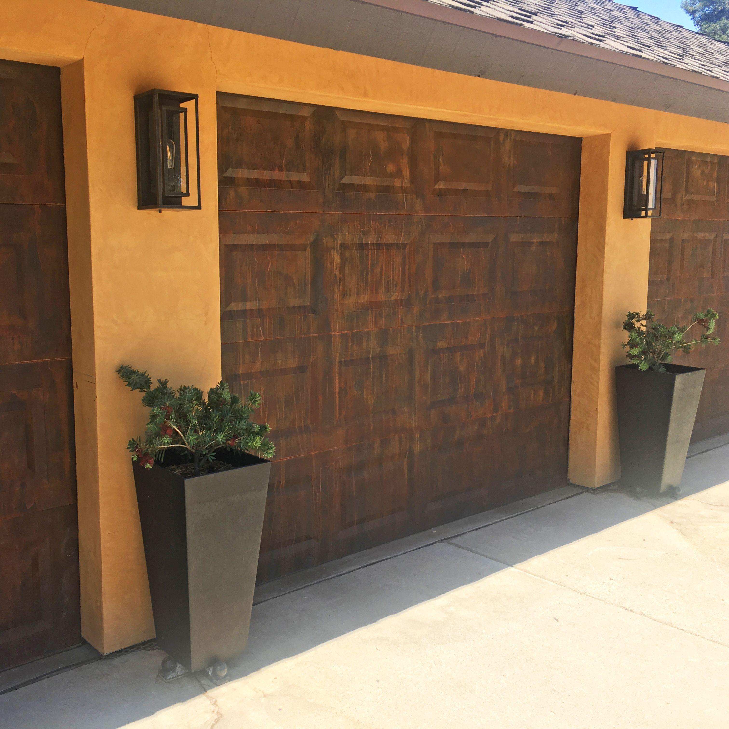 Garage Doors Finished In Modern Masters Metal Effects In Rust Project By Brenda Allison Art Weathered Rust Finish Patina Garage Doors Doors Garage Design