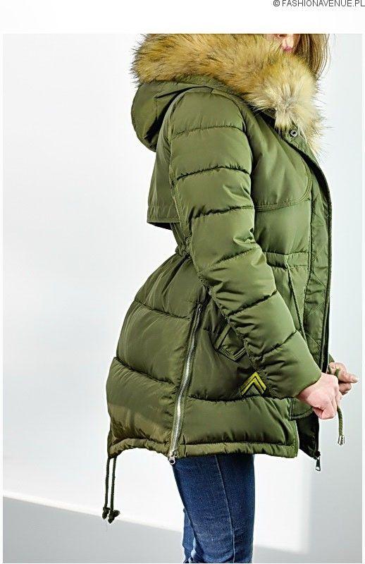 86c866a953835 Kurtka damska zimowa parka naszywki jenot militarna asymetryczna khaki  model #111 fashionavenue.pl