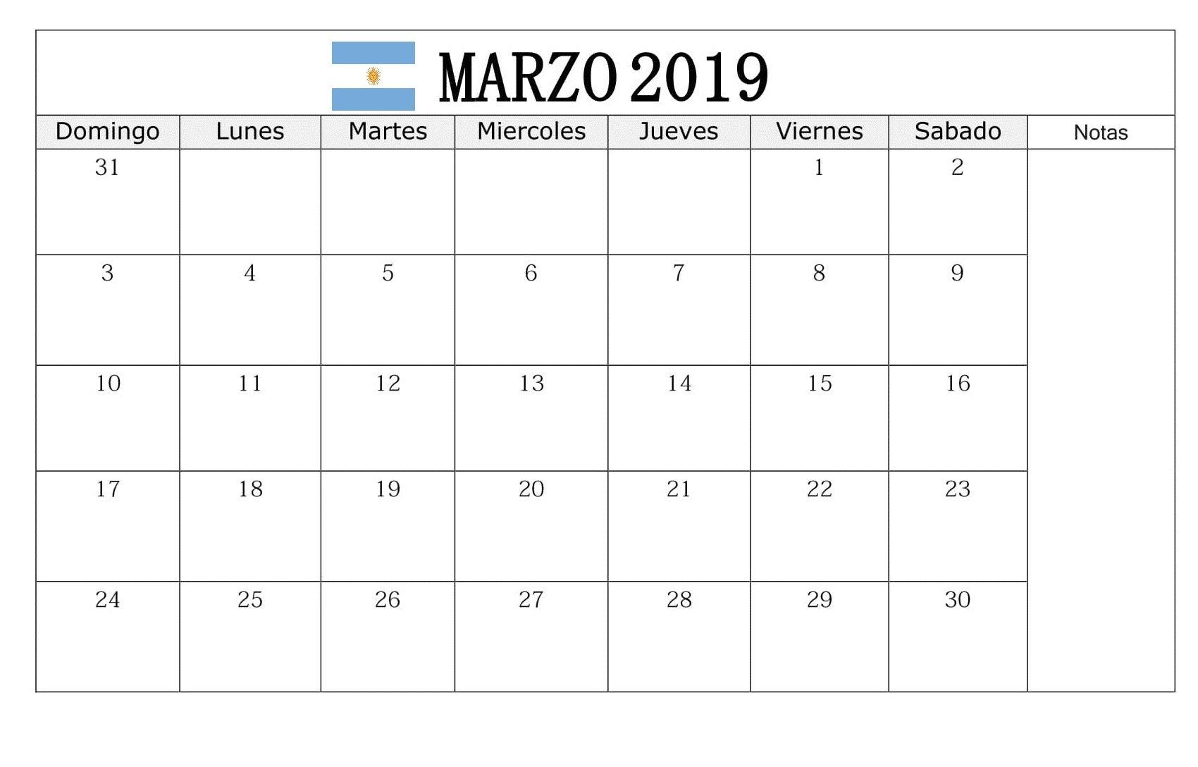 Calendario Marzo 2020 Argentina Para Imprimir.Calendario Marzo 2019 Argentina Calendario Marzo 2019